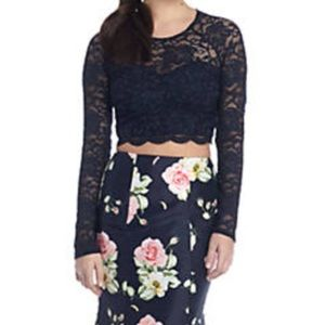 Gorgeous Navy/Floral 2 piece formal gown